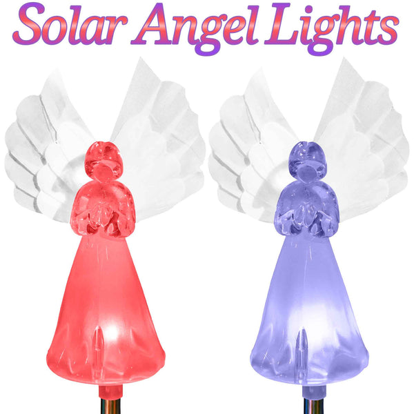 Solar Fairy Angel Lights Color Changing Garden Decor Outdoor Lawn Yard Figurine Stakes