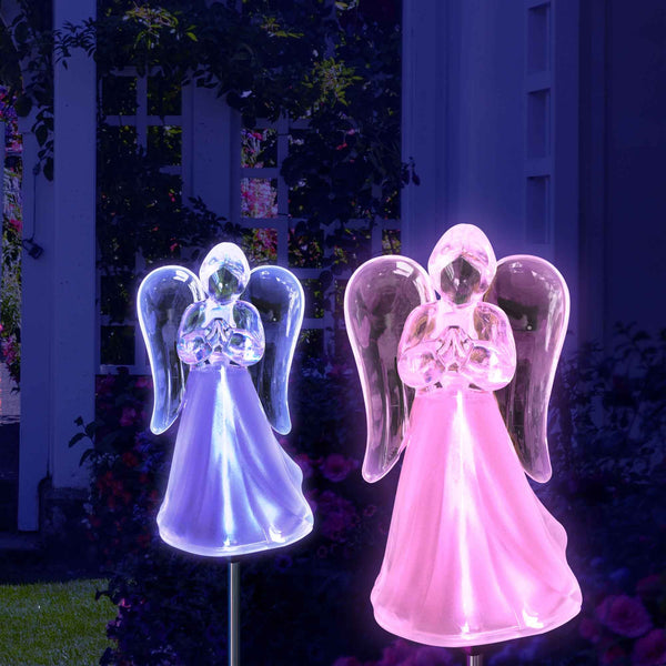 Solar Angel Lights Color Changing Solar Powered Angel Stake (2 Pack)