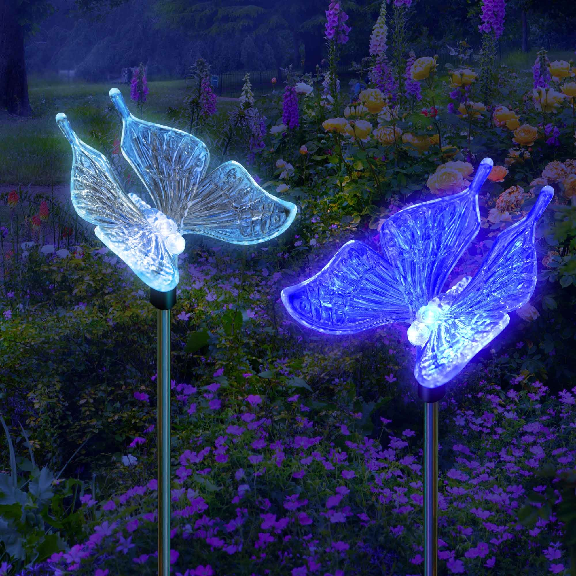 Solar Garden Color Changing Butterfly Stake Lights SolarDuke