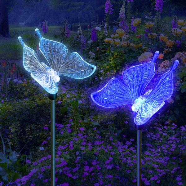 Solar Garden Stake Lights Color Changing Butterfly