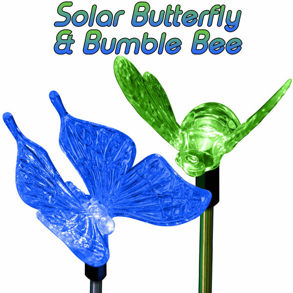 Garden Solar Lights Color Changing Butterfly & Bumble Bee Stake Lights