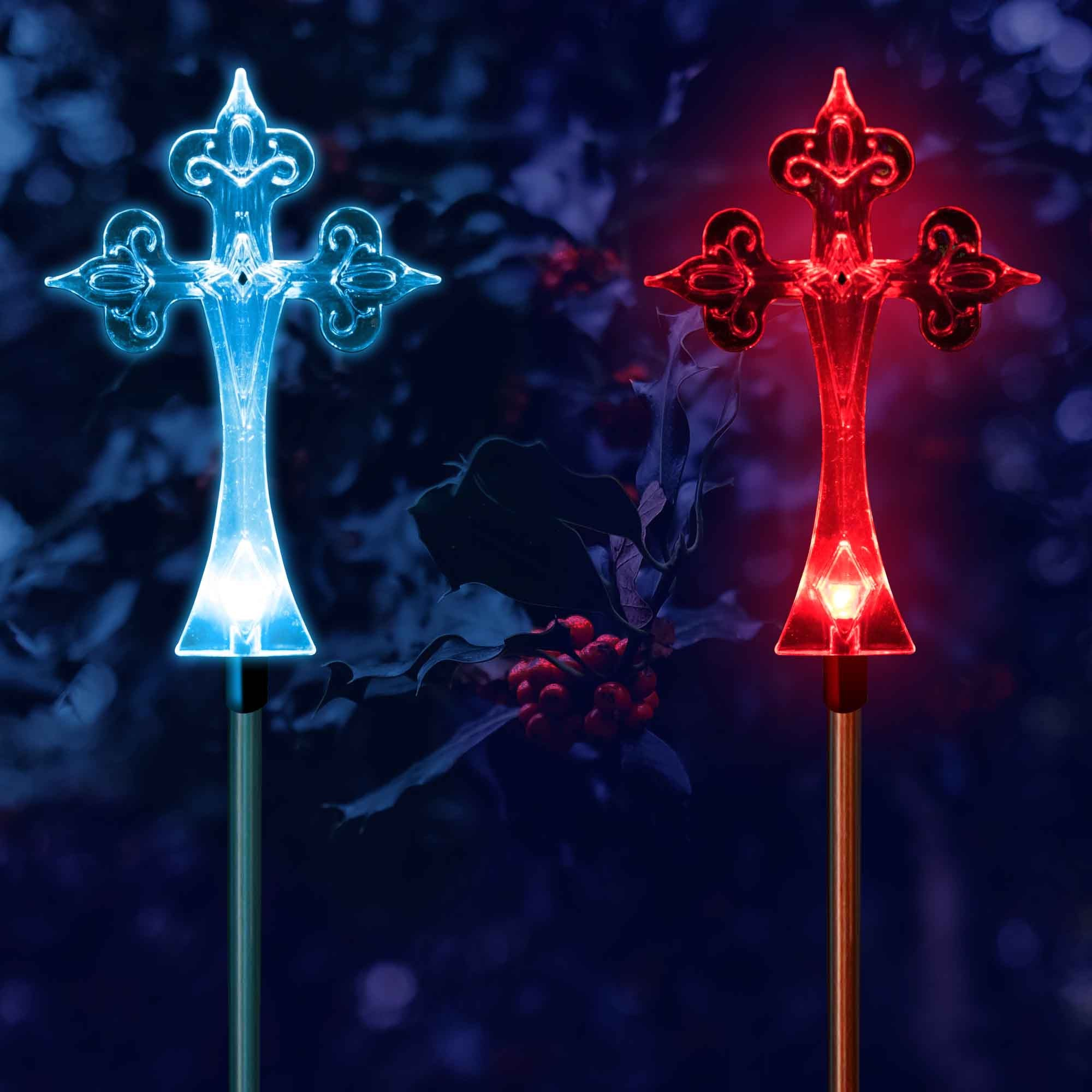 Solar garden christmas cross stake outdoor light my dream palace solar garden christmas cross stake outdoor light landscape pathway lighting my dream palace mozeypictures Gallery