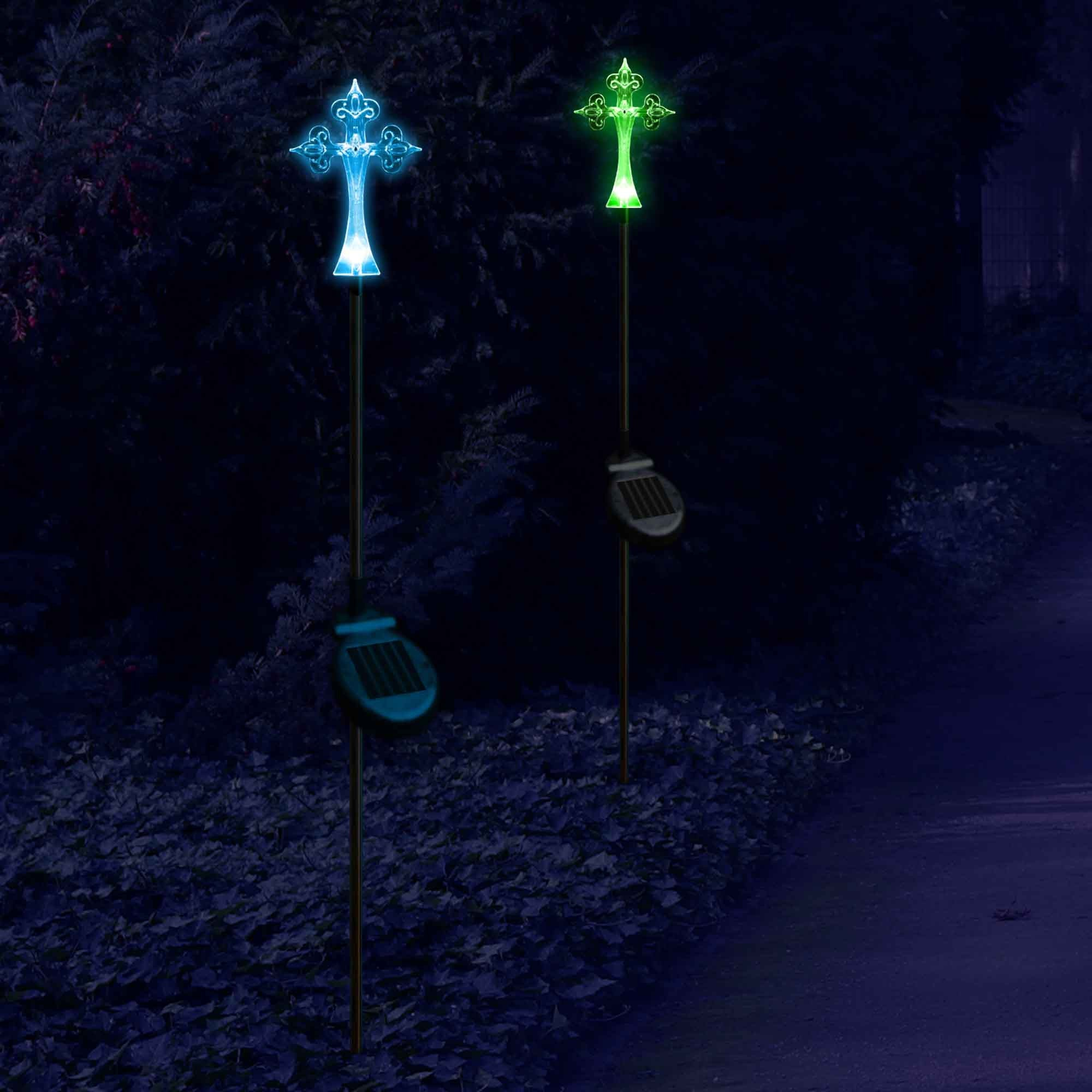 solar garden christmas cross stake outdoor light - Christmas Stake Lights