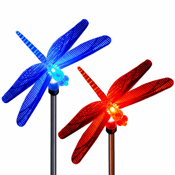Solar Dragonfly Garden Stake Lights Color Changing Dragonflies (2 Pack)