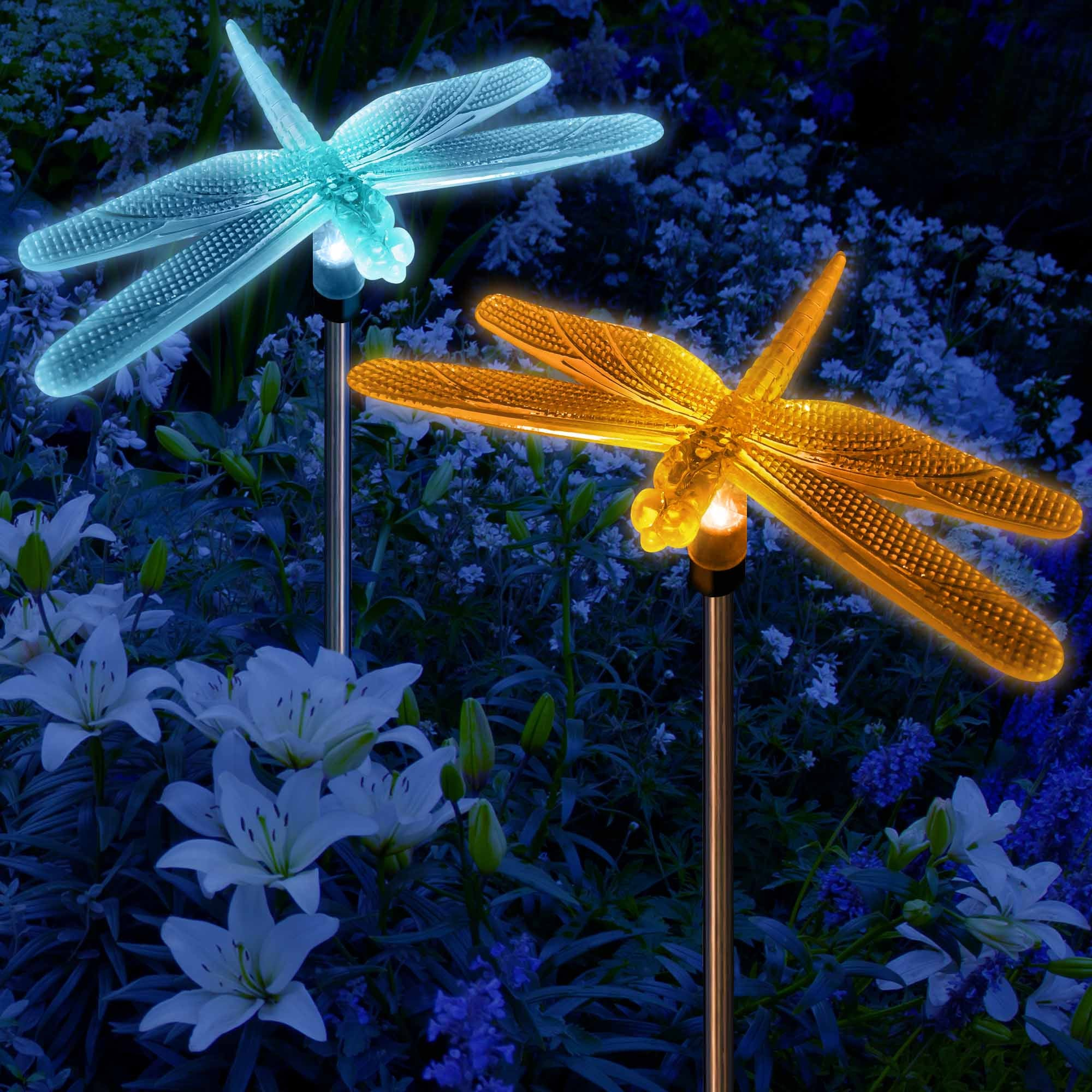 Solar color changing dragonflies garden stake lights my dream palace for Solar garden stakes color changing