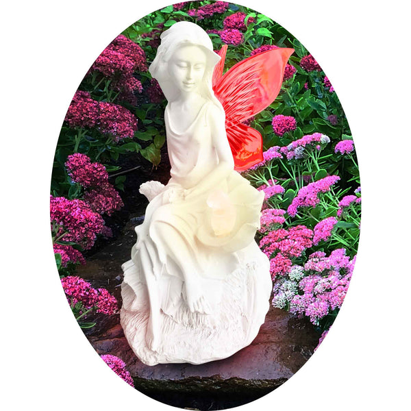 Solar Angel Fairy Figurine Lights With Color Changing Butterfly Wings For Garden Decor