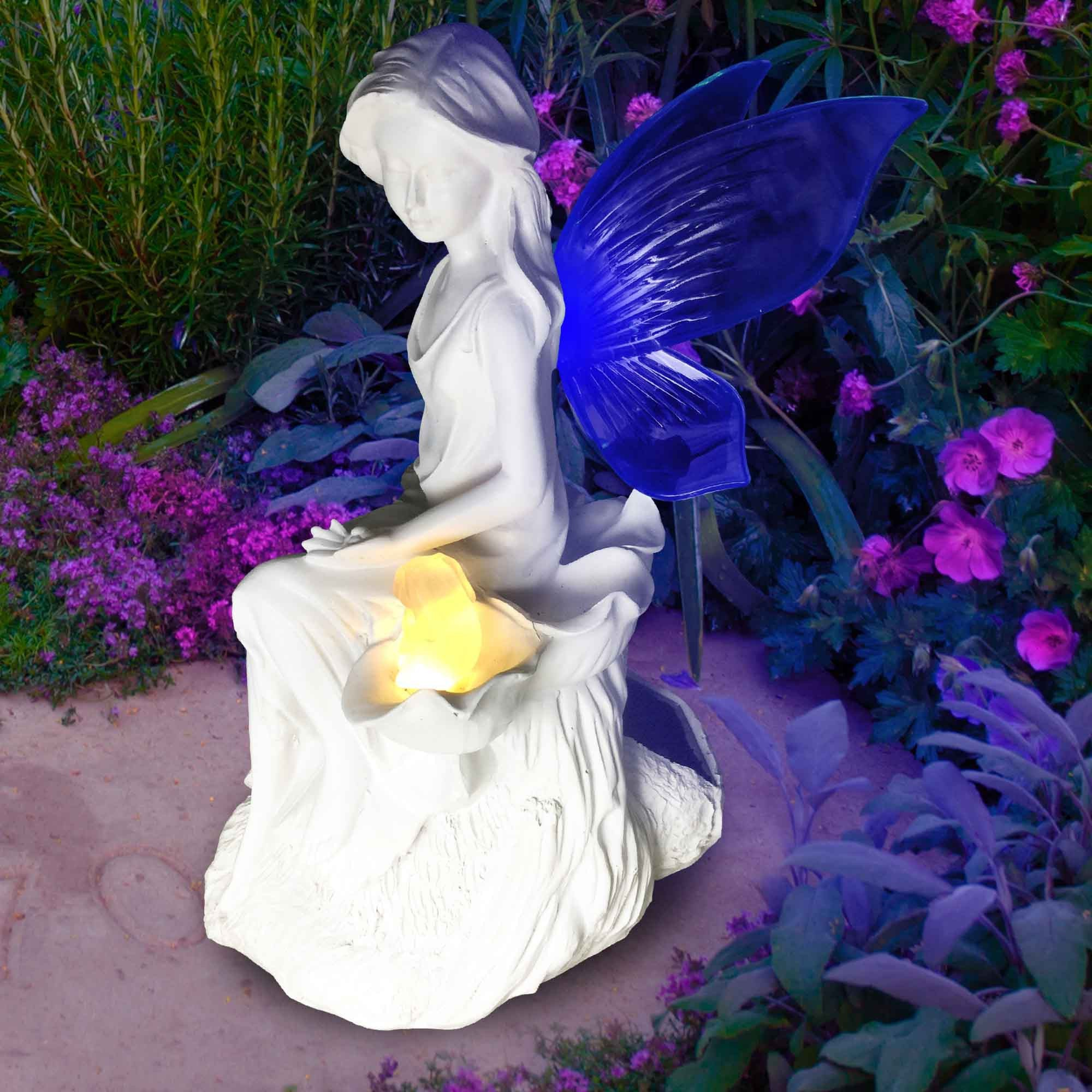 solar angel fairy figurine lights with color changing butterfly