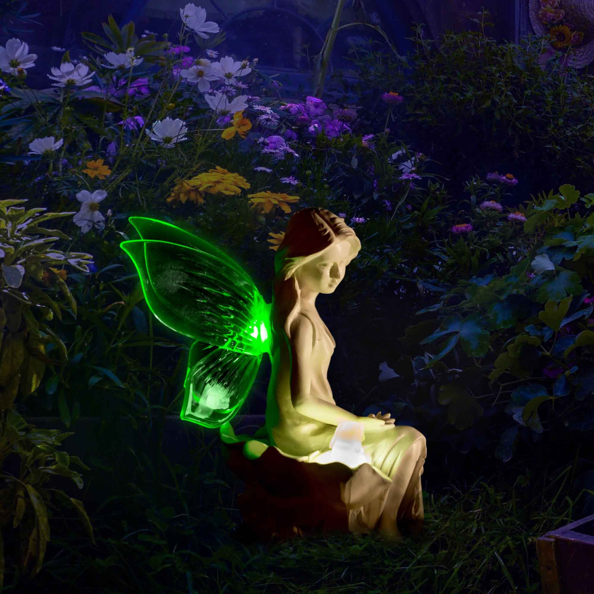 Solar angel fairy figurine lights with color changing butterfly wings my dream palace - Garden solar decorations ...