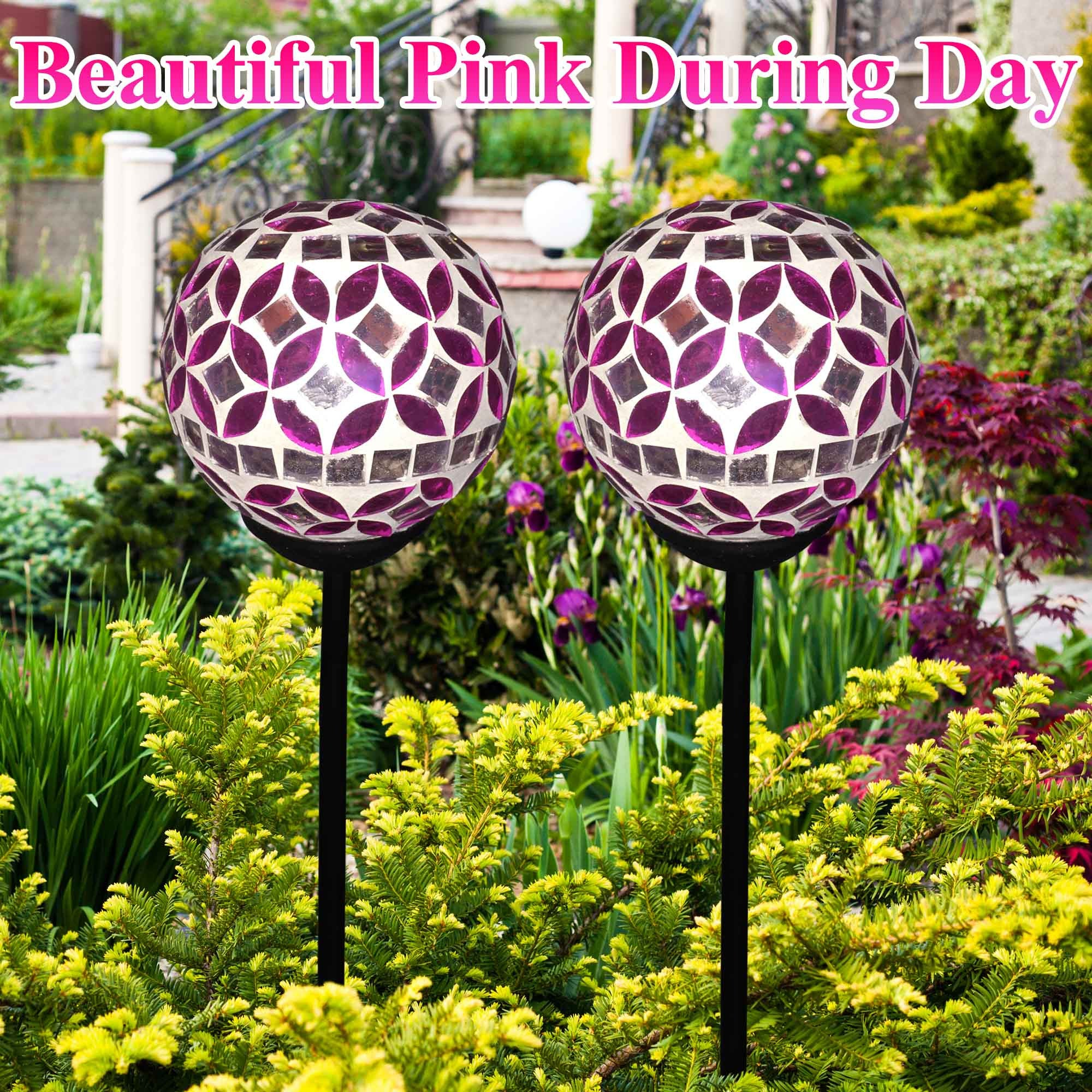 Solar Mosaic Crackle Ball Stake Light Globes Garden Lawn Decoration ...