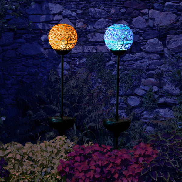 Solar Mosaic Crackle Ball Stake Light Outdoor Decoration Globe