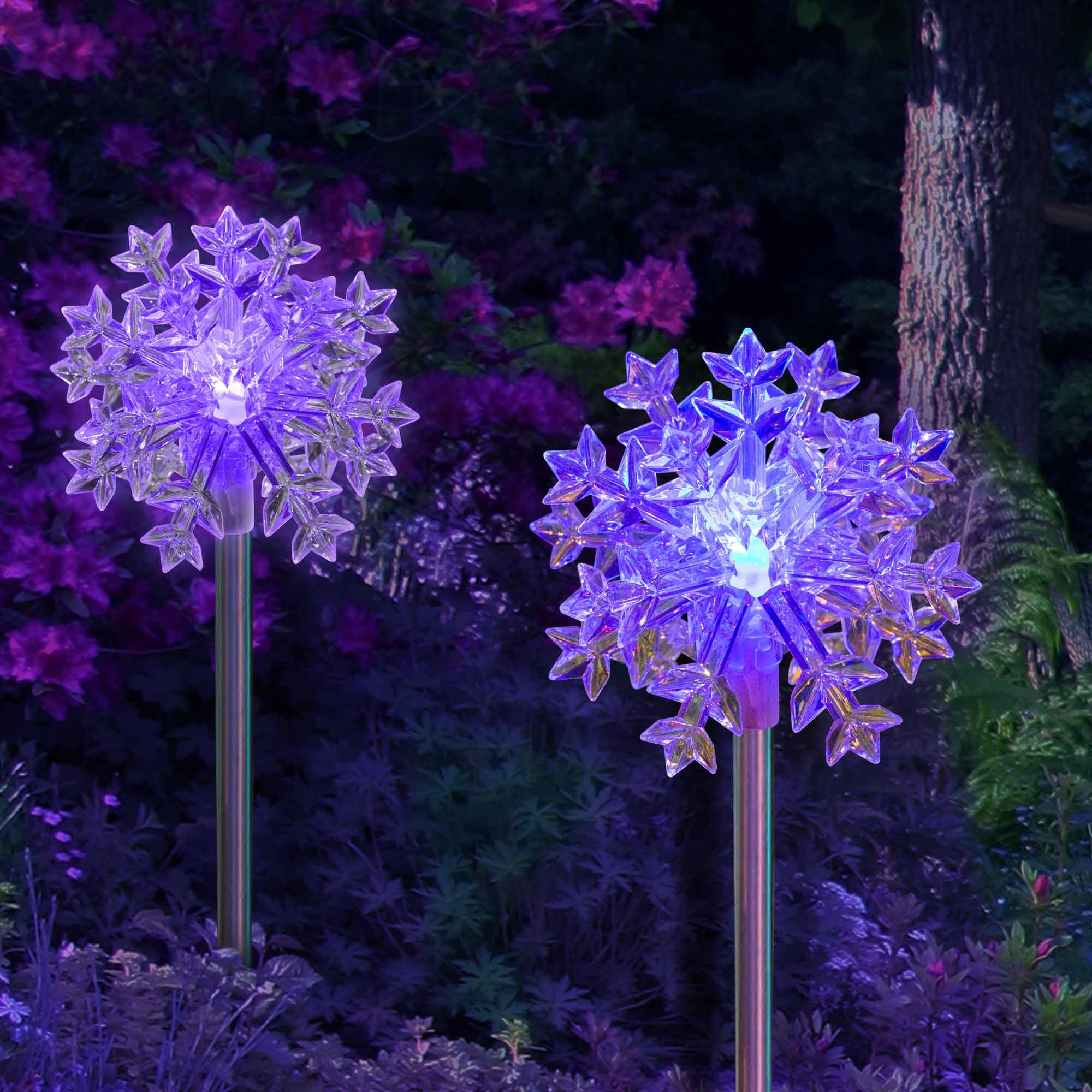 Solar Outdoor Christmas Lights Color Changing Solar Snowflakes Stakes 2 Pack Landscape Pathway Lighting
