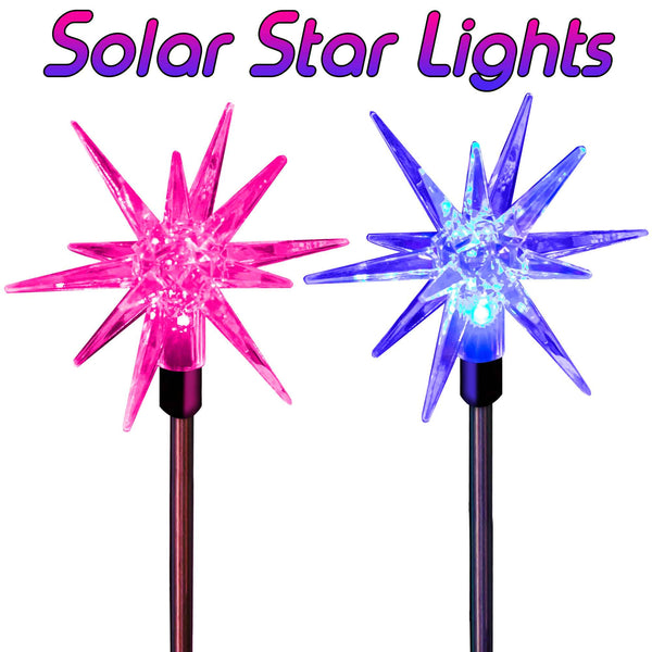 Solar Powered Christmas Decoration Star Stake Lights (2 Stars)