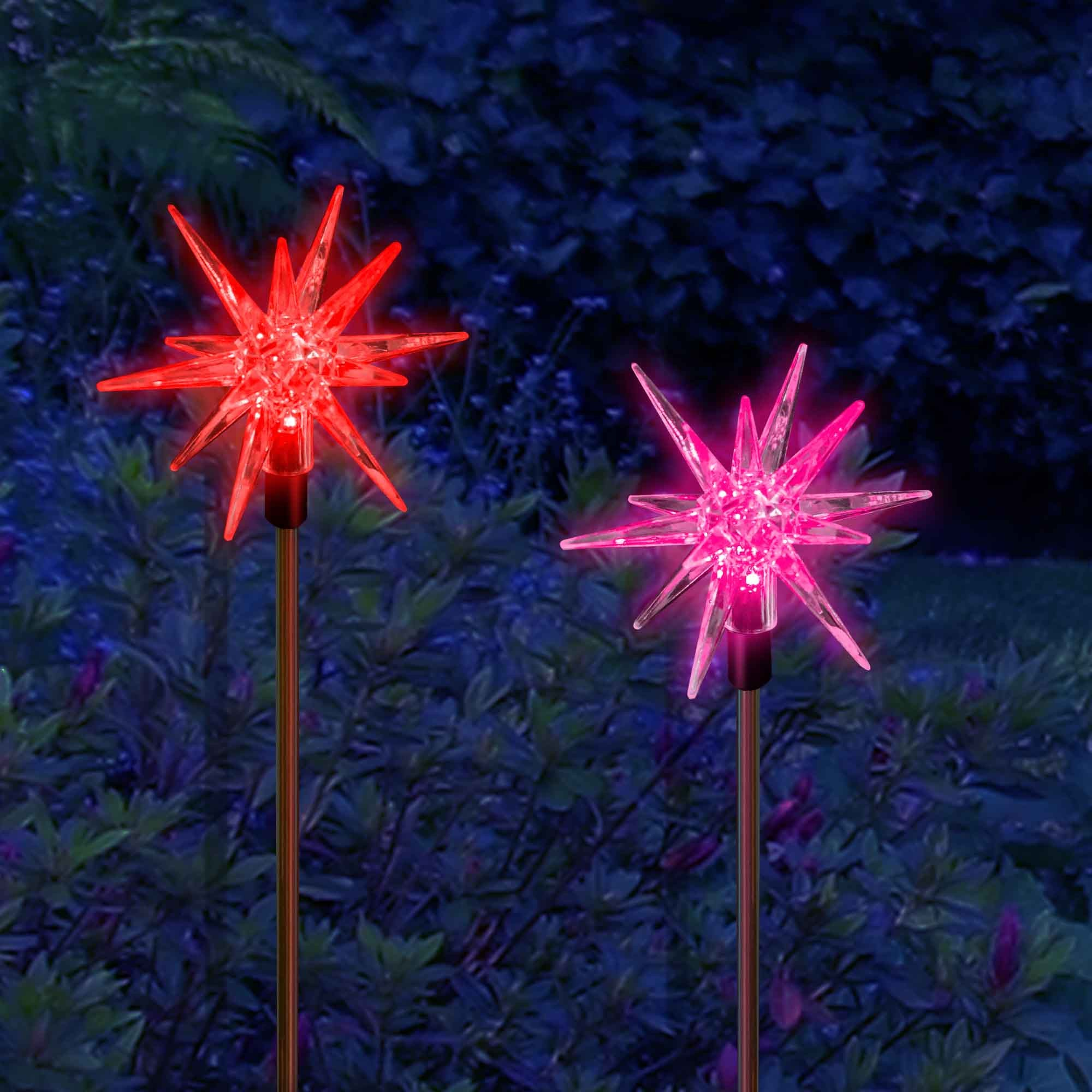 solar powered christmas decoration star stake lights 2 stars - Christmas Stake Lights