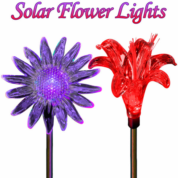 Solar Yard Lights Color Changing Sunflower & Lily Flower