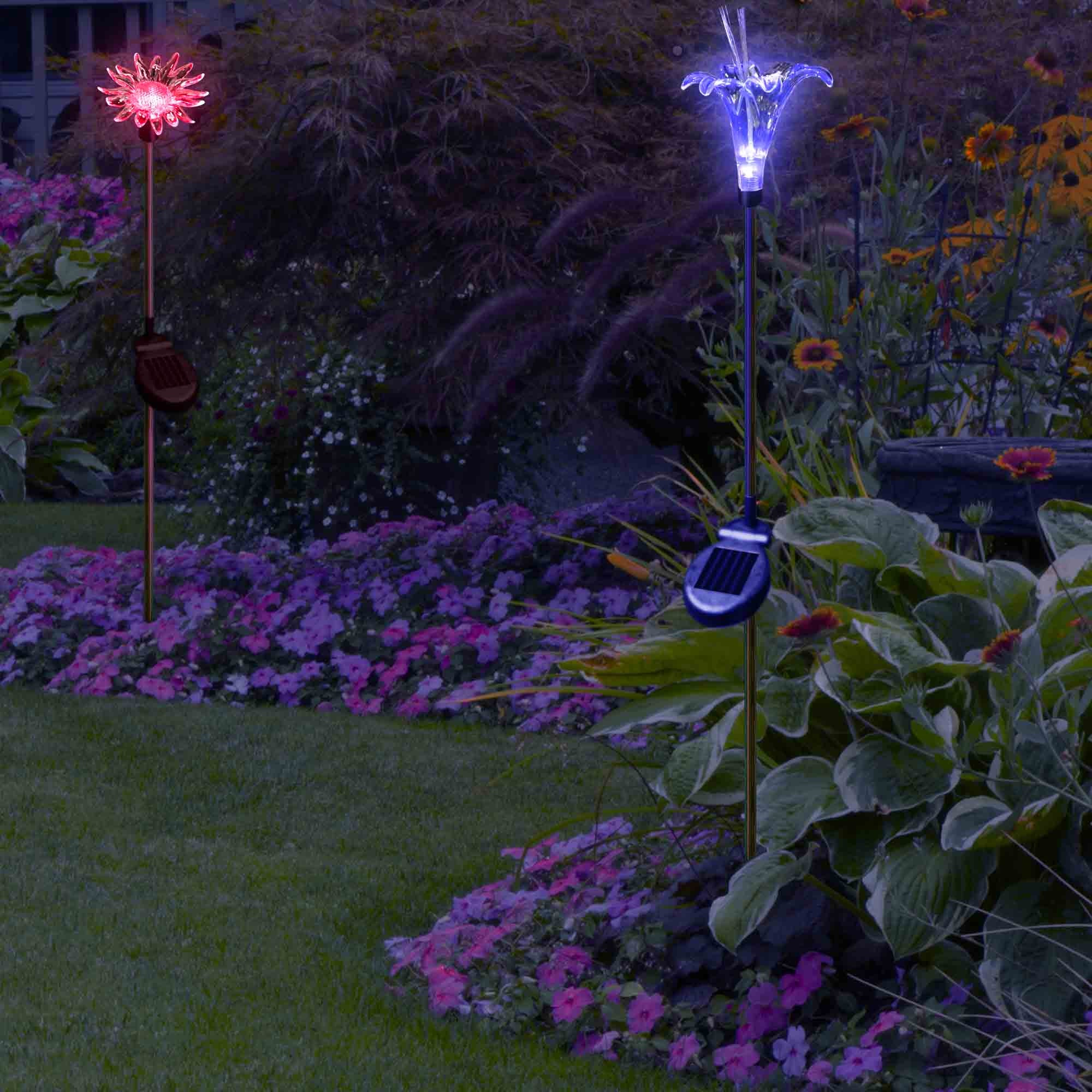 Solar Yard Lights Color Changing Sunflower Lily Flower SolarDuke