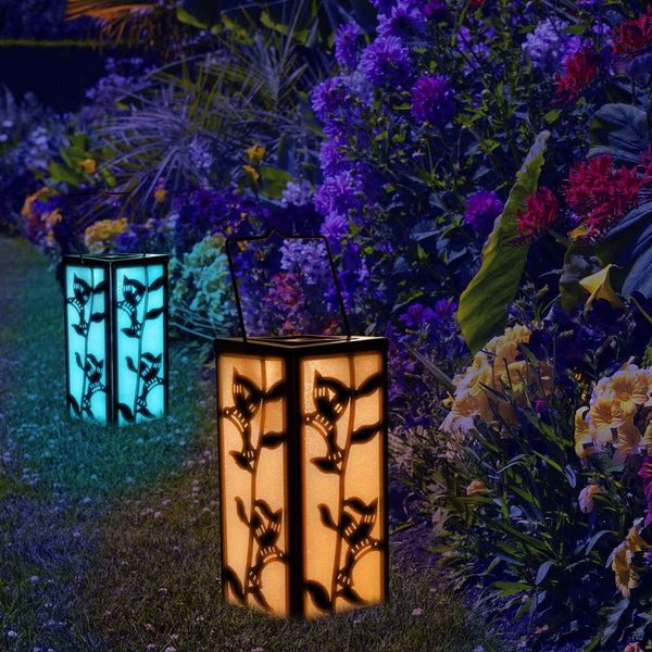 Solar Outdoor Decorative Hanging Lantern Color Changing Hummingbird