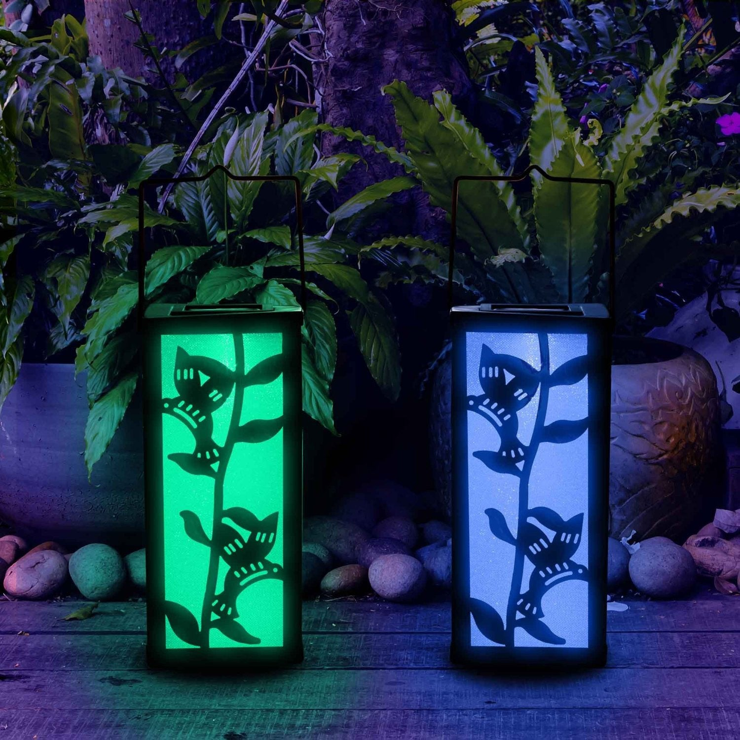 Hanging solar patio lights - Solar Outdoor Decorative Hanging Lantern Color Changing Hummingbird