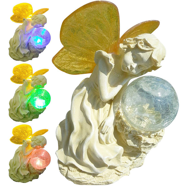 Solar Fairy Outdoor Statue Crackle Ball Light Butterfly Color Changing Wings Sleeping Angel Figurine Miniature Garden Fairy