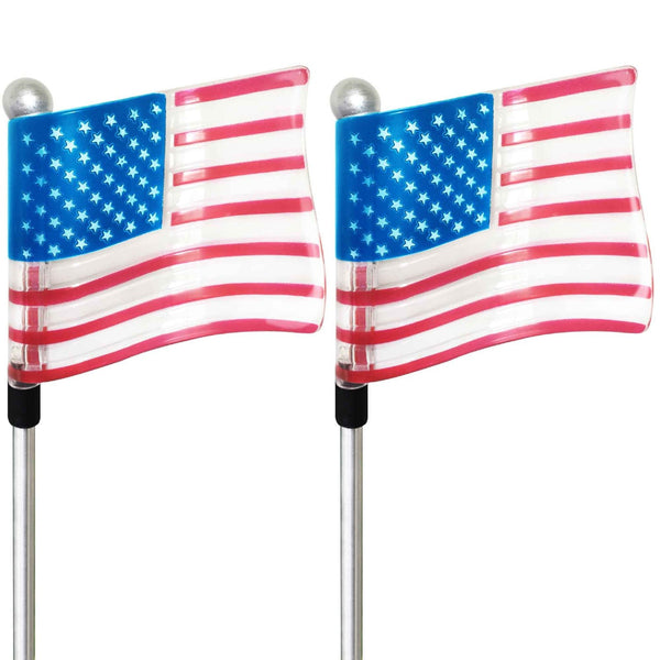 Solar US Flag Stake Lights 4th July Independence Day Special For Outdoor Patio Garden Lawn Yard Decoration (2 Pack)