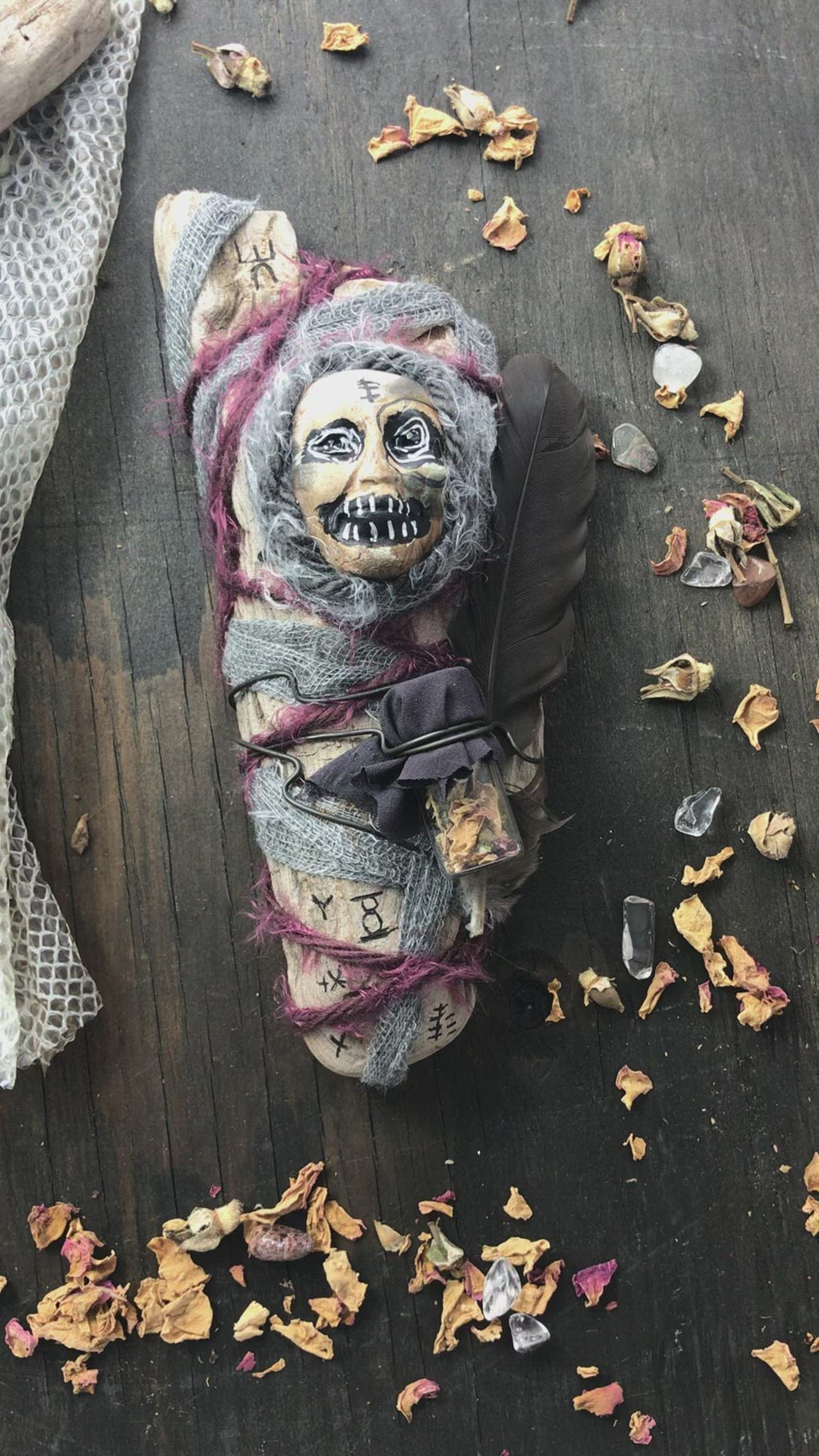 Wise Woman Spirit Doll with Rose Petals, Poke Root, Snake Skin and Ghost Quartz for Self Love, Transformation and Freedom