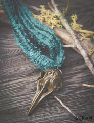 Bird Skull Necklace -Turquoise