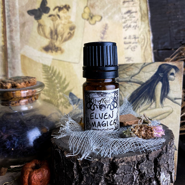ELVEN MAGICK-(Pepperberry, Black Pine, Patchouli, Saffron, Frankincense, Black Grapes, Vetiver, Pumpkin)-Perfume, Cologne, Anointing, Ritual Oil