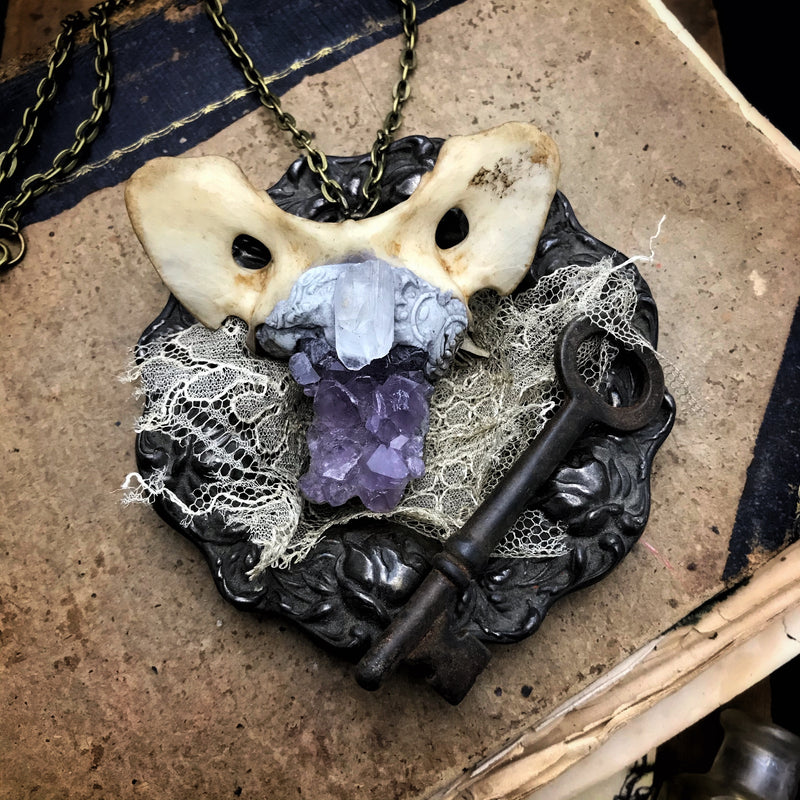 Bone Necklace with Amethyst and Quartz Crystal
