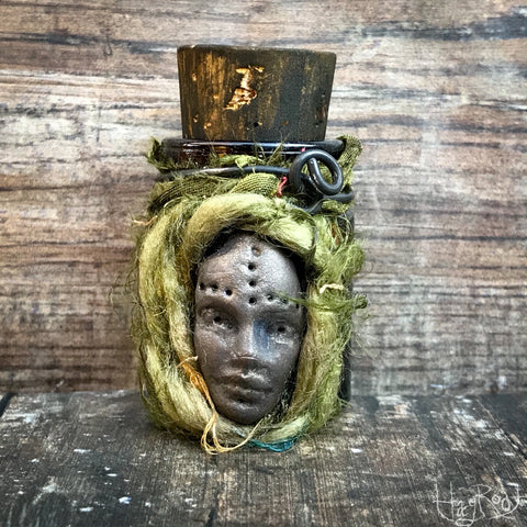 Wisdom Keeper Bottle with Spanish Moss, Snake Skin and Ghost Quartz for Love, Abundance and Transformation