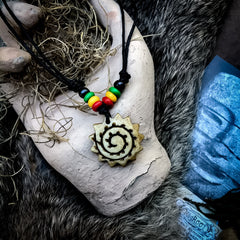 Tribal Spiral Necklace with Rainbow Beads
