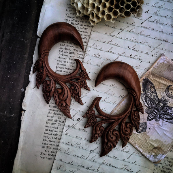 Hand Carved Sawo Wood Earrings