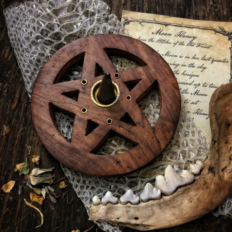 Wood Pentagram Incense Burner