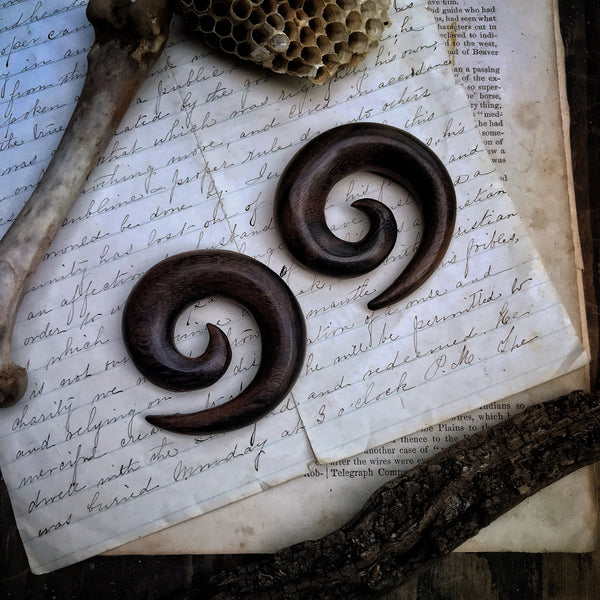 Hand Carved Sono Wood Spiral Earrings