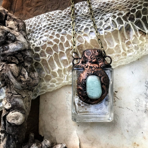 Serpent Dreams Necklace with Snake Skin, Chrysoprase + Mugwort