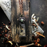 Conjure Necklace for Growth, Change and New Beginnings- With Bones, Snake Skin, Stones + Herbs