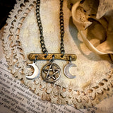 Triple Moon Pentagram, Pentacle Necklace