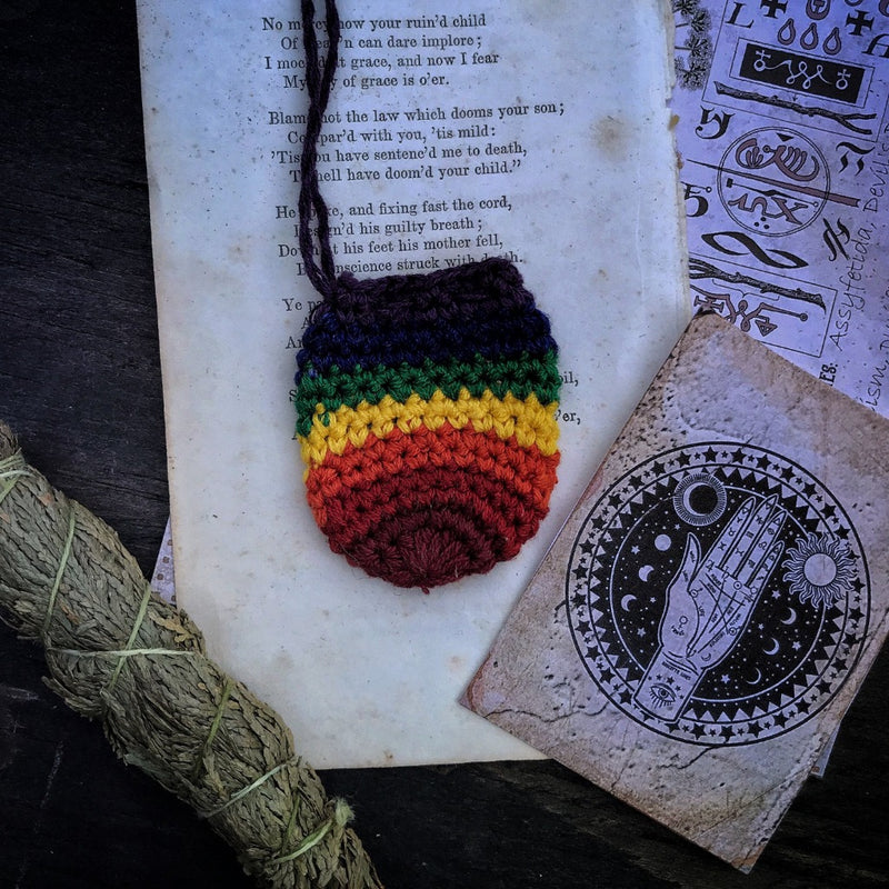 Rainbow Warrior Hand Knit Medicine Bag