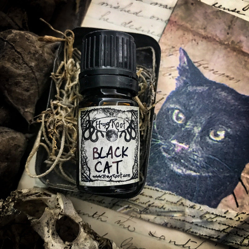 BLACK CAT-(Tobacco, Bergamot, Birch, Hawthorn Berry, Black Tea Leaves, Spruce, Jasmine, Moss, Cedar, Amber, Patchouli, Frankincense, Musk, Leather)-Perfume, Cologne, Anointing, Ritual Oil