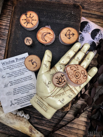 Witches Runes - 13 Natural Hand Burned Wood Runes - Divination Tool - Birch