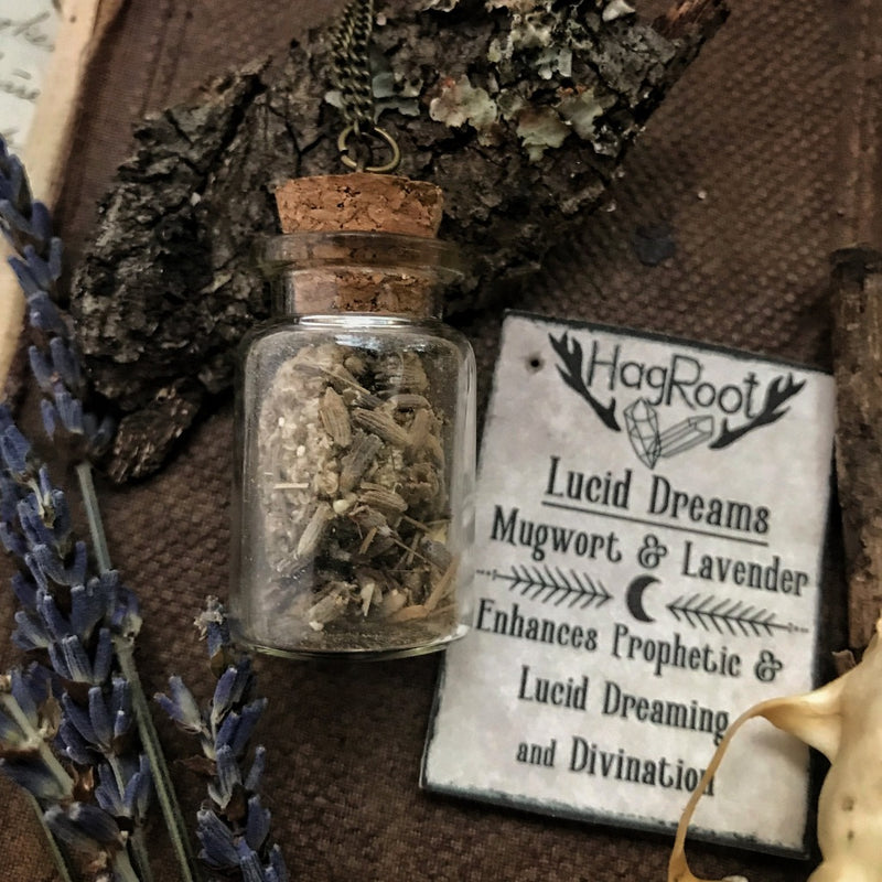 Necklace for Lucid Dreaming, Divination and Prophetic Visions with Mugwort + Lavender