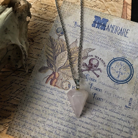 ROSE QUARTZ - Pendulum Necklace for Divination