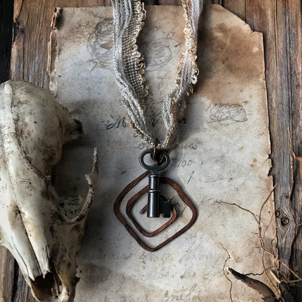 Copper Spiral Necklace with Skeleton Key - Creation + Growth
