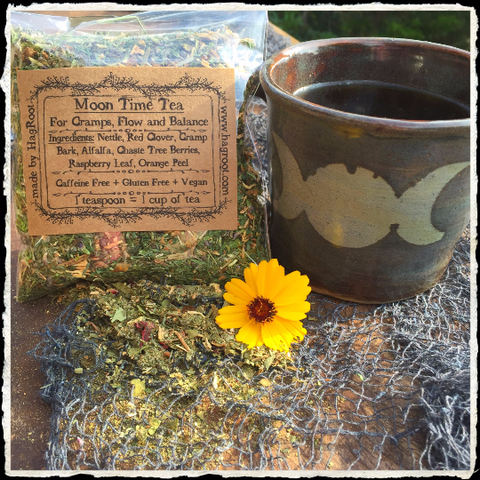 Moon Time Tea (Nettle, Red Clover, Cramp Bark, Alfalfa, Chaste Tree Berries, Raspberry Leaf, Orange Peel) Menstruation, Cramps, PMS