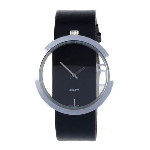 New PU Leather Transparent Dial Hollow Analog Quartz Wrist Watch