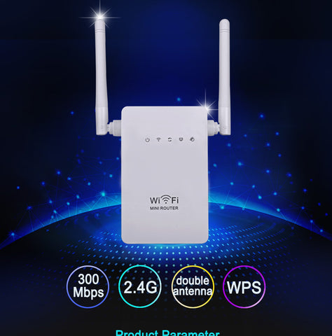 Mini Wireless Router 300 Mbps 2.4 Ghz Dual Antenna WiFi Repeater