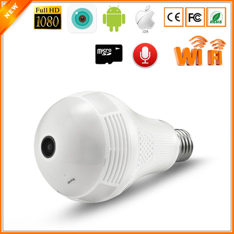 New HD 1080P Fish Eye 360 Degrees Panoramic Camera Bulb Light