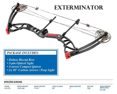 EK ARCHERY - Exterminator Compound Bow Package 20- 70LBS Black - SKU: CO-035BA, 200-500, Achery-Accessories, Amazon, Archery, ebay, ek-archery