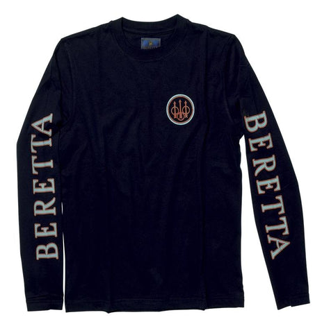BERETTA 2 LOGO LONG SLEEVE T-SHIRT - SKU: TS71-7294-0999/M - Size: Medium, 50-100, Amazon, Apparel, beretta, ebay, size-medium, t-shirts