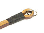 gordy's lug-mount camera strap. Split ring. Light brown leather black wrap.