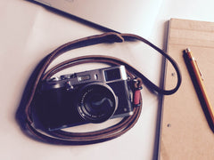 Dark brown leather camera strap
