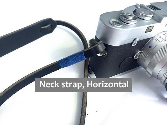 Black leather, blue wrap. Camera Neck strap, Horizontal